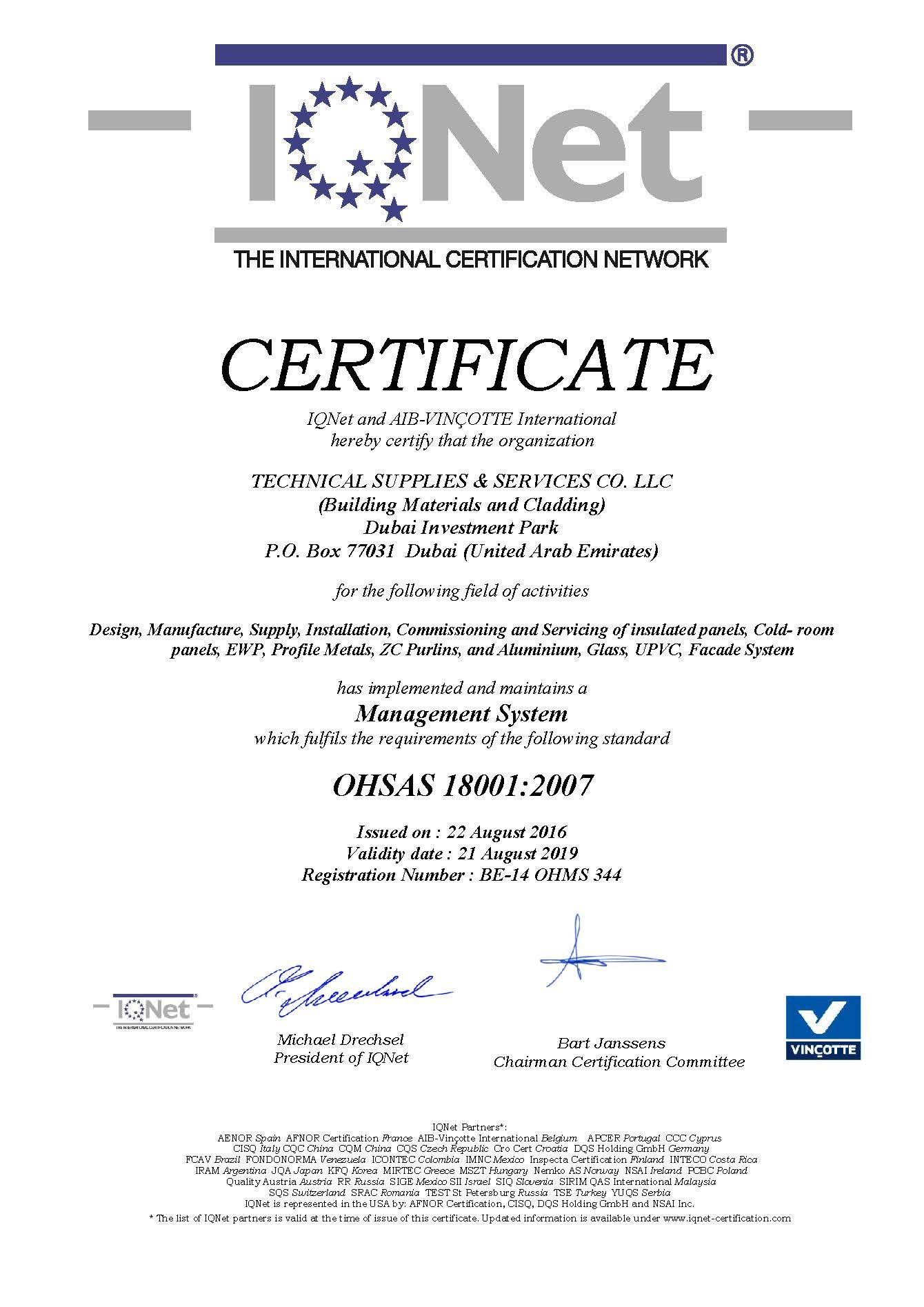 IQNET OHSAS_Occupational Safety 18001